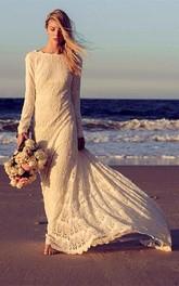 boho Bateau-neck Lace Long Sleeve Dress