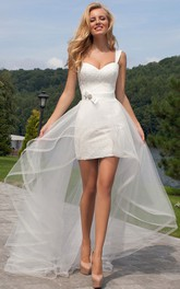 Sheath strapped Lace Tulle Wedding Dress With Corset Back