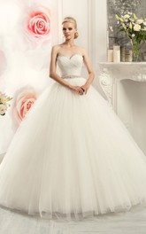 Sweetheart Rhinestone Criss Cross Ball-Gown Princess Tulle Dress