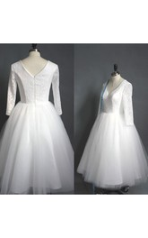 V-neck Lace Tulle Illusion 3/4 Length Sleeve Wedding Gown