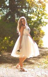 Tulle Bow Illusion Back Sleeveless V-Neckline Dress