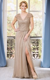 Plunged Cap-sleeve Front-split Mother of the Bride Dress With Lace top
