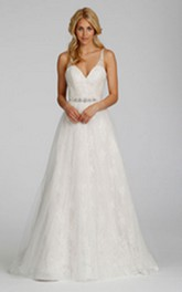 Lace Jeweled Belt V-Neck Alluring Tulle Dress