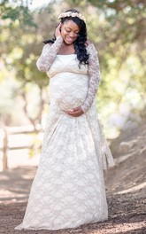 V-neck Long Sleeve Lace Pleated Ruched Ruffled Maternity Dress