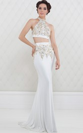 Pencil Sheath High Neck Sleeveless Jersey Two Piece Prom Dress With Beading