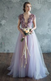 Tulle Short Sleeve Plunged A-line Lace Dress With bow And Low-V Back