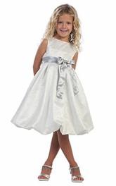 Tiered Sleeveless Tea-Length Flower Girl Dress