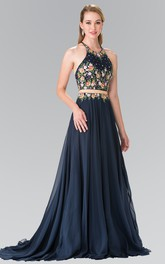 A-Line Pleated Embroidery Long Scoop-Neck Chiffon Sleeveless Straps Dress