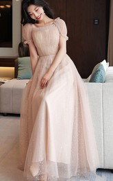 Off-the-shoulder Square V-neck Tulle Floor-length Formal Dress With Ruching