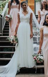 A Line Scalloped Chiffon Lace Court Train Sleeveless Open Back Wedding Dress With Bow