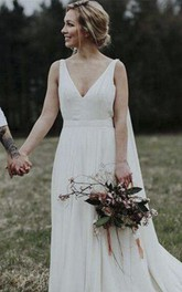 Goddess A-line Elegant Plunging V-neck Wedding Dress With Chapel And Watteau Train