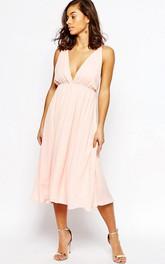 Tea-Length V-Neck Sleeveless Pleated Chiffon Bridesmaid Dress