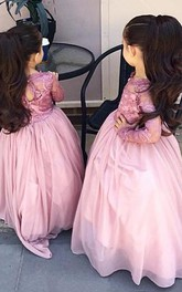 Pink Floor-Length Long-Sleeve Modern Flower Girl Dress
