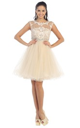 A-Line Waist Jeweler Appliqued Mini Jewel-Neck Tulle Cap-Sleeve Illusion Dress