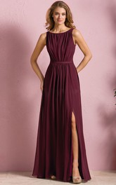 Bateau Chiffon Sleeveless Front-split Dress With Pleats And Low-V Back