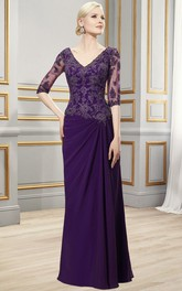Appliqued Draping V-Neckline Floor-Length Formal Dress