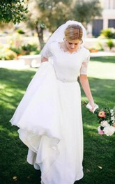 Scalloped Chiffon Lace Illusion Half Sleeve Wedding Gown