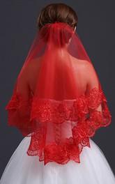 Red Lace Applique Veil