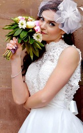 Tulle Keyhole Back Satin Midi-Length Short Lace Dress