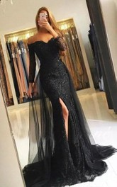 Off-the-shoulder LacenTulle 3/4 Length Sleeve Floor-length Sweep Train Prom Dress