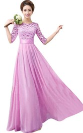 Bateau Half Sleeve Floor-length Dress With Lace top