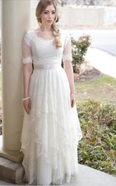 Scalloped Lace Tulle Illusion Short Sleeve Wedding Gown