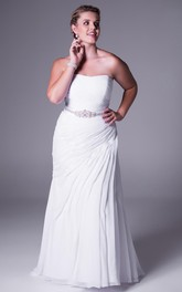 Strapless Chiffon Side-draped plus size Gown With Embellished Waist