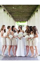 Strapless Strapped Jersey Short Column Lace Sleeveless Dress