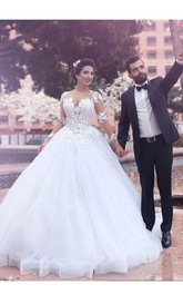 Queen Anne Lace Tulle Illusion Long Sleeve Wedding Dress