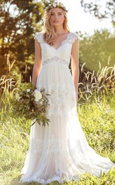 ethereal V-neck cap-sleeve Lace Wedding Dress