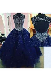 Ball Gown Sleeveless Floor-length Bateau Tulle Prom Dress with Zipper Keyhole Back