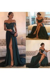 A-line Sleeveless Floor-length Court Train Off-the-shoulder Jersey Lace Evening Dress with Zipper Back