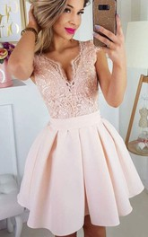 V-neck Satin Lace Short Sleeve Short A Line Homecoming Dress with Pleats