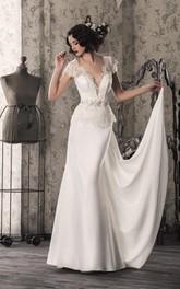 Wedding Illusion Lace-Up Back Satin Lace Dress