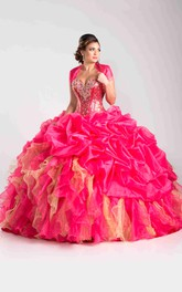 Sequined Cape Pick-Ups Lace-Up Ball Gown