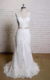 Lace Satin Sash Bridal Sleeveless V-Neckline Mermaid Dress