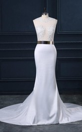 Lace Appliqued Wedding Tulle Fishtail Satin Dress