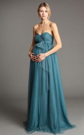 Sweetheart tulle Ruched convertible maternity Bridesmaid Dress