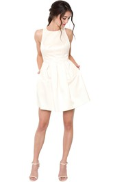 A-line short Sleeveless Dress With back bow