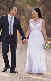 Long Lace Bodice Sleeveless V-Neckline Chiffon Dress