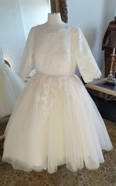 Scoop-neck Lace Half Sleeve short Tulle A-line Wedding Dress