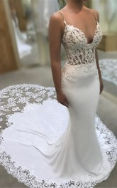 Romantic Spaghetti Plunging Sexy Lace Bridal Gown With Cathedral Train