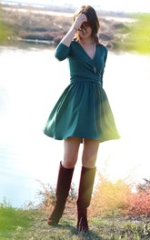 Plunged 3-4-sleeve mini A-line Dress With side Ruching