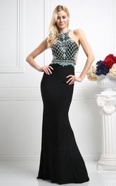 Column Crystal Jewel-Neck Sleeveless Straps Jersey Dress