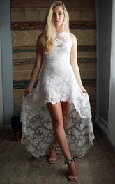 Hi-Low Lace Open-Back French Dress