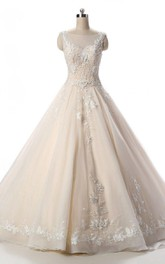 Bateau Sleeveless A-line Ball Gown With floral Appliques And Corset Back