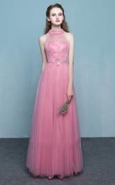 Elegant Tulle Sheath Halter Sleeveless Floor Length Dress