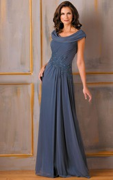 Scoop-neck Cap-sleeve Ruched Mother of the Bride Dress With Appliques