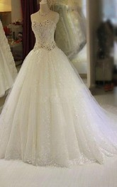 Glamorous Crystal Sweetheart Wedding Dress 2018 Bling Tulle With Train