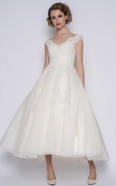 Elegant Organza Ball Gown V-neck Cap-Sleeve Ankle Length Wedding Dress